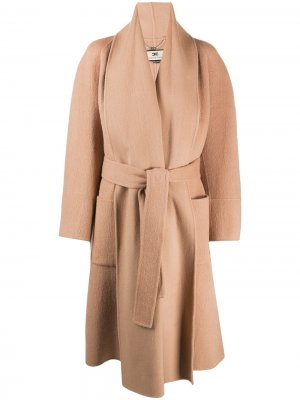 Пальто с длинными рукавами и поясом Elisabetta Franchi. Цвет: нейтральные цвета