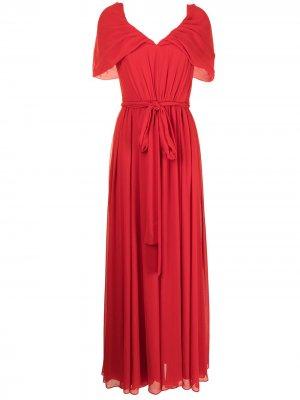 Pleated V-neck gown Badgley Mischka. Цвет: красный