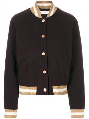Куртка-бомбер с вышивкой See By Chloé. Цвет: коричневый