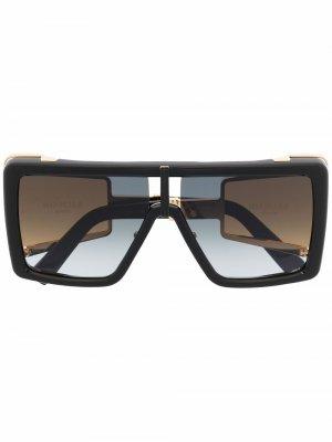 Солнцезащитные очки в квадратной оправе Balmain Eyewear. Цвет: черный
