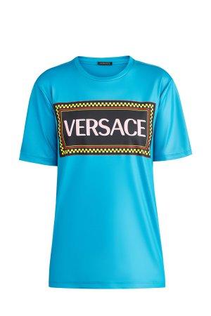 Футболка с полимерным напылением и логотипом из архива бренда VERSACE. Цвет: бирюзовый