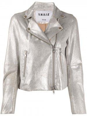 Приталенная байкерская куртка S.W.O.R.D 6.6.44. Цвет: серебристый