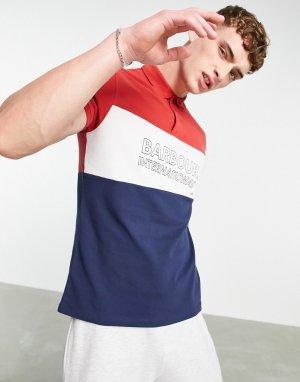 Поло в стиле колор блок темно-синего, красного и белого цвета с большим логотипом -Multi Barbour International