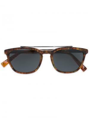 Солнцезащитные очки с D-образной оправой Ermenegildo Zegna. Цвет: коричневый