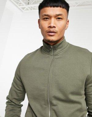 Спортивная трикотажная куртка цвета хаки на широкой молнии с воротником-стойкой -Зеленый цвет ASOS DESIGN
