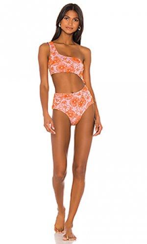 Слитный купальник zander F E L A. Цвет: blush,orange