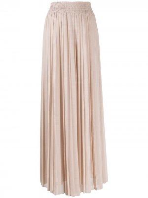 Плиссированная юбка макси Max Mara. Цвет: нейтральные цвета
