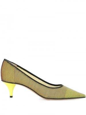 Туфли-лодочки с отделкой в рубчик Premiata. Цвет: желтый