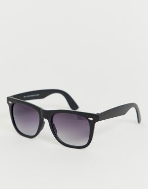 Черные солнцезащитные очки в квадратной оправе -Черный New Look