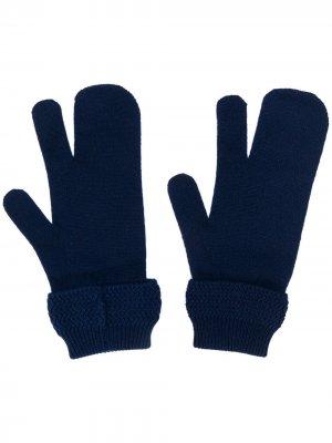 Перчатки Tabi с фирменной отделкой Maison Margiela. Цвет: синий