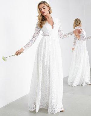 Кружевное свадебное платье с V-образным вырезом и открытой спиной Penelope-Белый ASOS EDITION