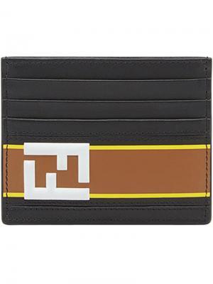 Визитница с логотипом Fendi. Цвет: черный