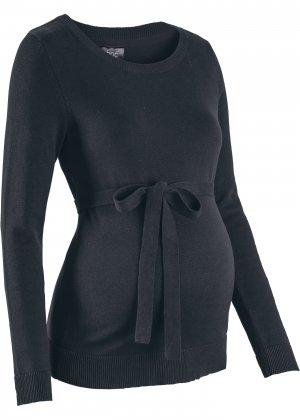 Пуловер с поясом, для беременных bonprix. Цвет: черный