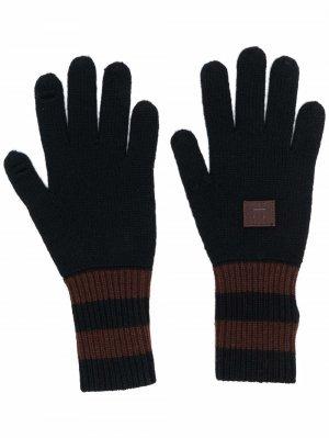 Перчатки в полоску Acne Studios. Цвет: черный