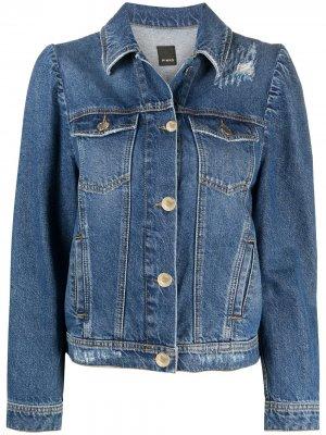 Джинсовая куртка с эффектом потертости Pinko. Цвет: синий