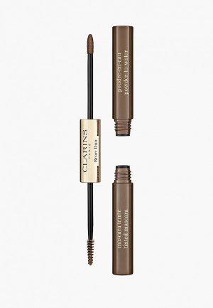 Набор для макияжа бровей Clarins Brow Duo, тон 03 Cool Brown, 1,8 гр+1 гр. Цвет: коричневый