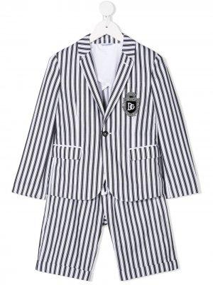 Полосатый костюм DNA с нашивкой-логотипом Dolce & Gabbana Kids. Цвет: серый
