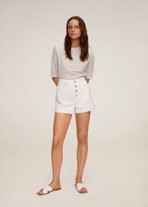 Джинсовые шорты с пуговицами - Buttons Mango. Цвет: белый