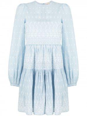 Платье мини с вышивкой byTiMo. Цвет: синий