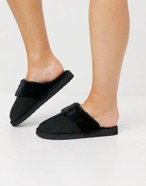 Черные пушистые слиперы -Черный цвет Miss Selfridge