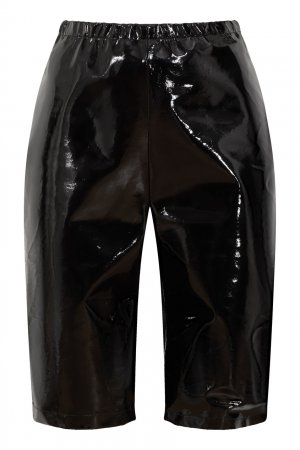 Черные кожаные шорты David Koma. Цвет: черный