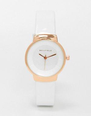 Часы с белым ремешком и циферблатом цвета розового золота -Белый Bellfield