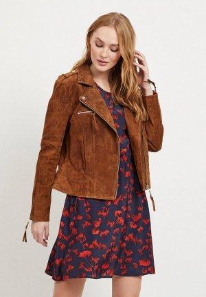 Куртка кожаная Vila. Цвет: коричневый
