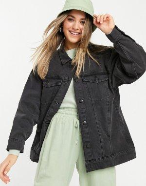 Джинсовая куртка в стиле oversized выбеленного черного цвета из органического хлопка Katrina-Черный цвет Monki