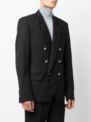 Двубортный пиджак с логотипом Balmain. Цвет: черный