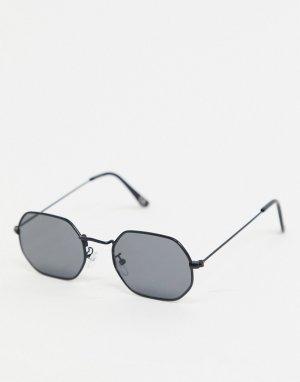 Солнцезащитные очки в черной металлической оправе -Черный ASOS DESIGN
