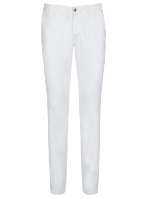 Белые хлопковые брюки Baldessarini. Цвет: белый