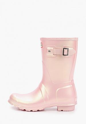 Резиновые сапоги Hunter WOMENS ORIGINAL SHORT NEBULA. Цвет: розовый