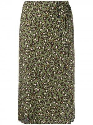 Юбка с завышенной талией и леопардовым принтом Seventy. Цвет: зеленый