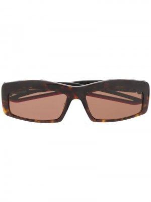 Солнцезащитные очки Hybrid в прямоугольной оправе Balenciaga. Цвет: черный