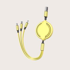 Телескопический кабель для передачи данных 3 в 1 SHEIN. Цвет: жёлтые