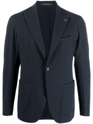 Фактурный однобортный пиджак Tagliatore. Цвет: синий