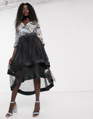 Черная юбка миди из органзы с асимметричным подолом -Черный Chi London