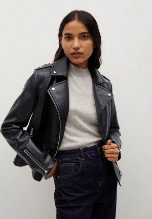 Куртка кожаная Mango - LIZ. Цвет: черный