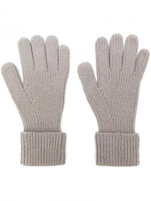 Перчатки в рубчик N.Peal. Цвет: телесный