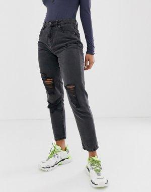 Черные джинсы в винтажном стиле с рваной отделкой -Синий Noisy May