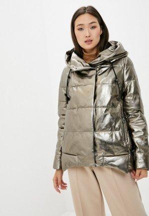 Куртка кожаная Снежная Королева. Цвет: золотой