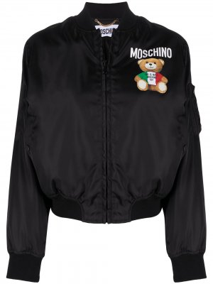 Бомбер с логотипом Moschino. Цвет: черный