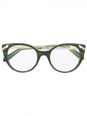 Декорированные очки в оправе кошачий глаз Bvlgari. Цвет: зеленый