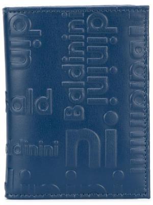 Визитница с тисненым логотипом Baldinini. Цвет: синий