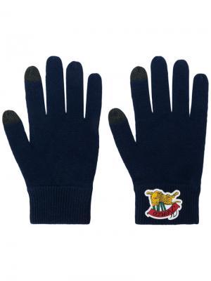 Перчатки с вышитым логотипом Kenzo. Цвет: синий