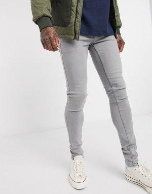 Серые супероблегающие джинсы -Черный цвет French Connection