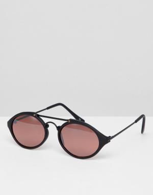 Черно-розовые круглые черные солнцезащитные очки Inspired эксклюзивно для ASOS Reclaimed Vintage. Цвет: черный