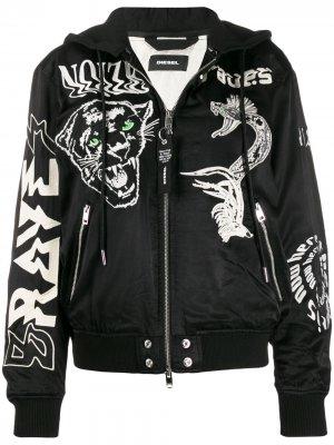 Куртка-бомбер с вышивкой Diesel. Цвет: черный