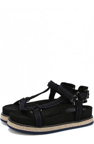 Комбинированные сандалии на джутовой подошве Moncler. Цвет: черный