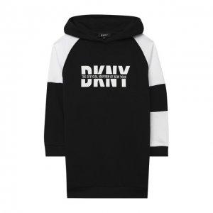 Хлопковое платье DKNY. Цвет: чёрный